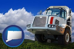 connecticut map icon and a heavy-duty truck