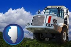 illinois map icon and a heavy-duty truck