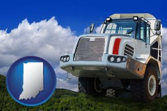 indiana map icon and a heavy-duty truck