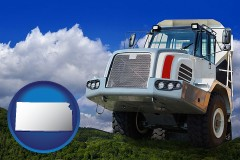 kansas map icon and a heavy-duty truck