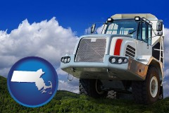 massachusetts map icon and a heavy-duty truck