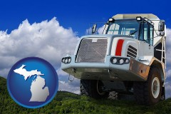 michigan map icon and a heavy-duty truck