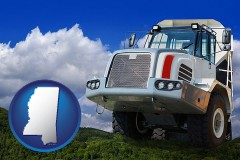 mississippi map icon and a heavy-duty truck
