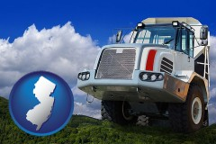 new-jersey map icon and a heavy-duty truck