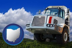 ohio map icon and a heavy-duty truck