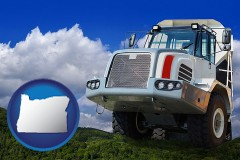 oregon map icon and a heavy-duty truck