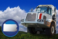 pennsylvania map icon and a heavy-duty truck
