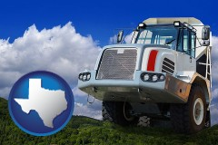 texas map icon and a heavy-duty truck