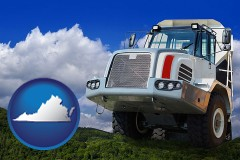 virginia map icon and a heavy-duty truck