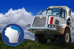 wisconsin map icon and a heavy-duty truck
